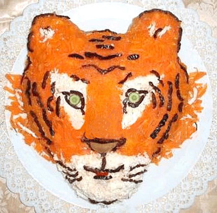 тигриная морда украшение салата
