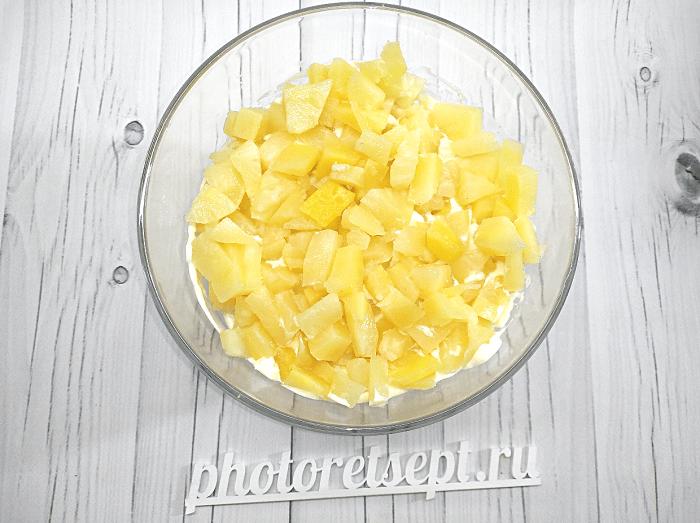 салат с курицей копченой грибами и ананасами фото 3