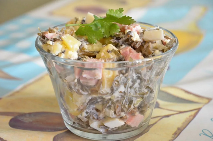 салат с морской капустой картошкой